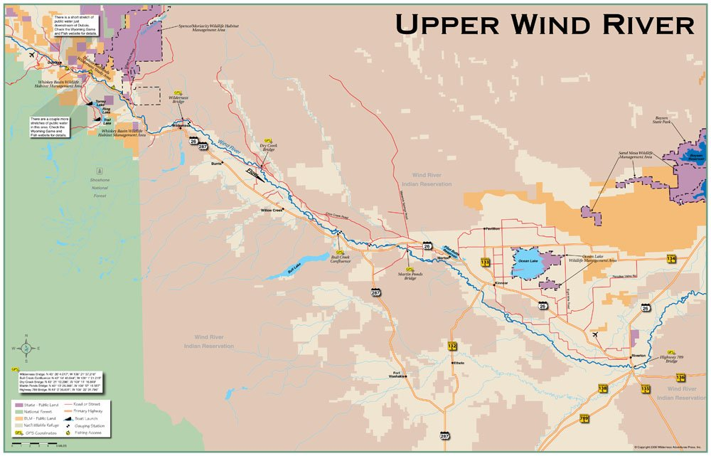 Amazon com : Upper Wind River 11x17 Fly Fishing Map : Fishing