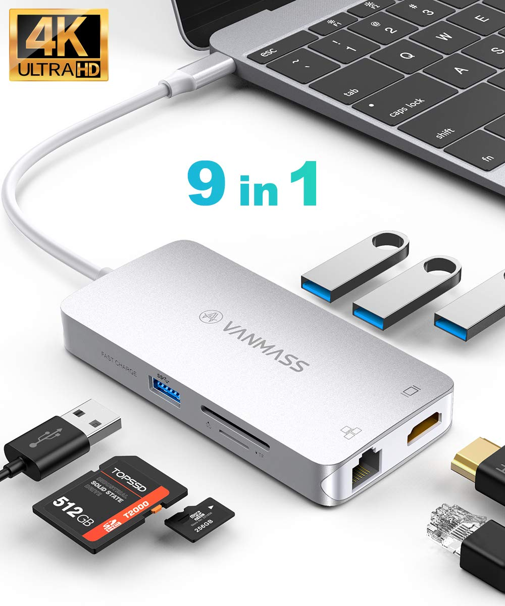 VANMASS USB C Hub, Premium 9 in 1 USB C Adapter with 4K HDMI, RJ45 Gigabit Ethernet Port, 4 USB 3.0 Ports, TF/SD Card Reader 90W PD Port for MacBook/Pro/Air and More USB C Devices (Silver)