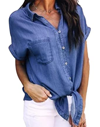3c120eeb9f9 Women s Collar Button Down Denim Shirt Short Sleeve Tie Front Blouse Tops  with Pockets Size S