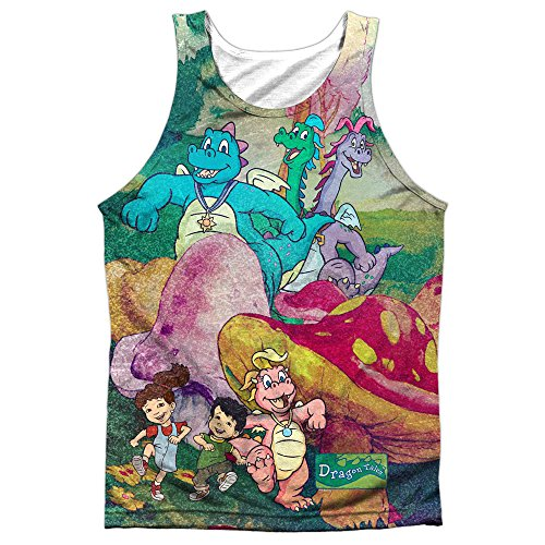 Other Cartoons Dragon Tales Series Playin in Mushroom Meadow Front Print Tank Top Shirt