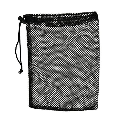 Suriel Durable Nylon Mesh Bag with Sliding Drawstring Cord Lock Closure,Large Black Mesh Bag for Golf Tennis Balls,Gym,Shower,Washing Toys,Swimming,Beach,12×7.5 Inch