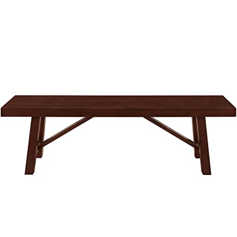 60u0026quot; Solid Wood Trestle Dining Bench , Espresso