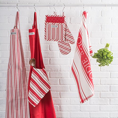 "DII Cotton Gourmet Stripe Oven Mitt 7 x 13"" and Pot Holder 8 x 9""Kitchen Gift Set, Machine Washable and Heat Resistant for Cooking and Baking-Tomato Red"