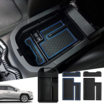 Central console storage box for RAV4 5 generation 2019+ centre armrest organiser blue storage box inside .