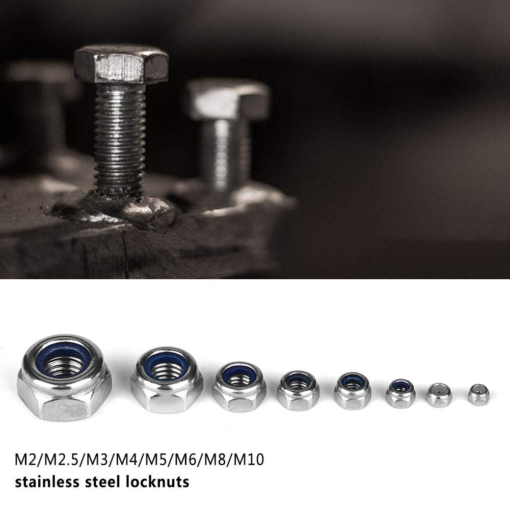 SS304 Sicherungsmutter aus Edelstahl M2 M2,5 M3 M 4 M5 M6 M8 M10 Sicherungsmutter-Sortiment mit Nyloneinsatz Ersatz f/ür normale Schraubenmuttern Sicherungsmutter aus Nylon