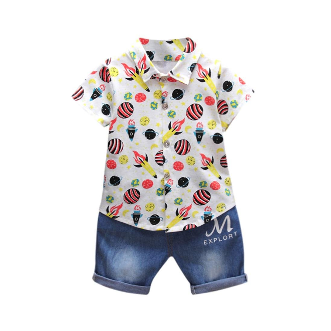 Lavany Baby Clothes Set Toddler Boy Rocket T-Shirt Tops Denim Pants Outfits
