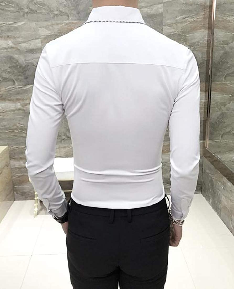 Zimaes-Men Long-Sleeve Solid Colored Button Down Silm Fit Peaked Collar Shirts