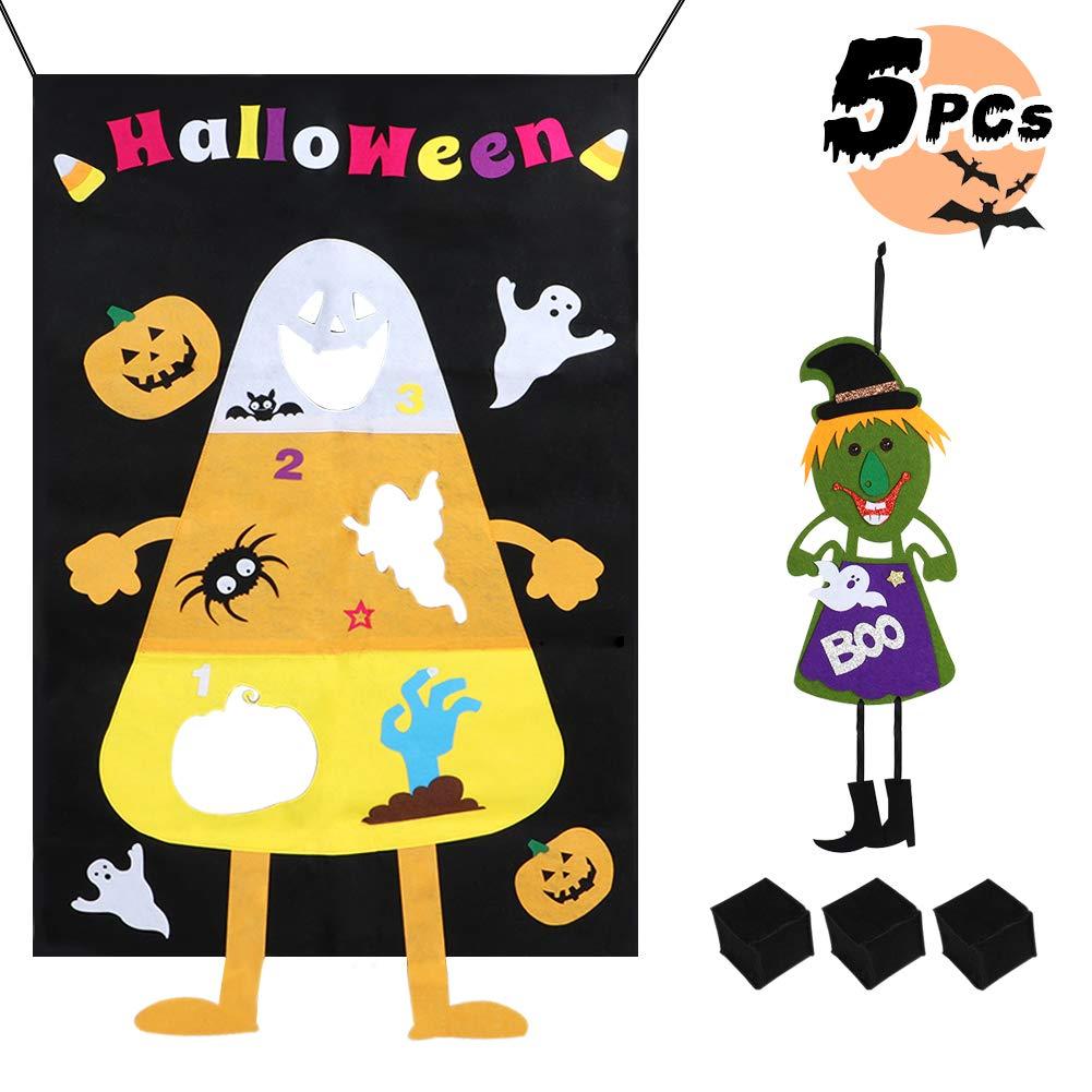 Tacobear Toss Jeu Jeu de Lancer Sac de Haricots Bean Bag Toss Game Jeu de Halloween avec 3 Sacs de Haricots et 1 Décoration Suspendue Halloween pour Enfants et Adultes