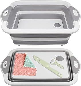 Collapsible Cutting Board Muti-function Chopping Board Kitchen Washing Basket Drain Vegetable Sink Basket for BBQ Prep, Picnic, Camping, RV Travel, Beach, Garden FLSEPAMB(Grey+Peeler+Knife)