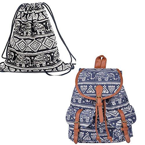 Leefrei Mochila Escolar informal, de lona, para Mujer y Hombre, de día, tiempo libre negro Elefant Schwarz Elefant Blau+Beutel