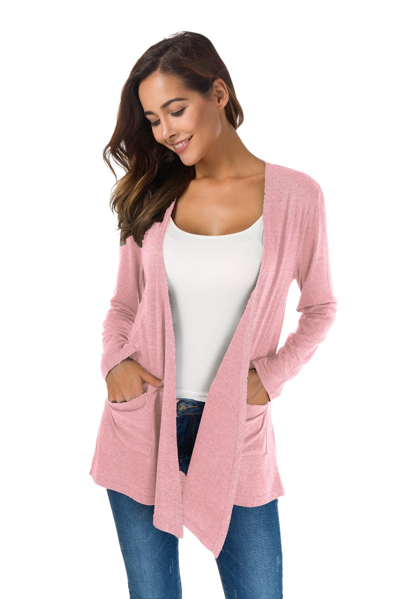 NB Women's Extra Soft Natural Classic Long Sleeve Irregular Hem Open Drape Style Cardigan Pocket (Pink, XL) by NB (Image #2)