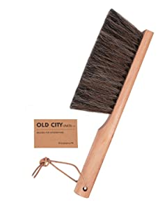 "Dustpan Brush Only- Bench Brushes are used as a Counter, Hand, Gardening, Furniture, Drafting, Fireplace Cleaning -Large 13"" Shop Brush-USA-Horsehair -American Beech Wood, Leather Tie"