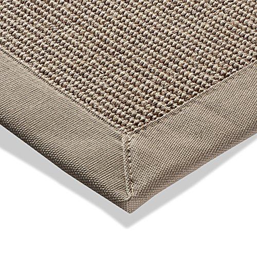 Sisal Teppich Bordürenteppich Naturfaser Läufer Flachgewebe grau hell, verschiedene Größen