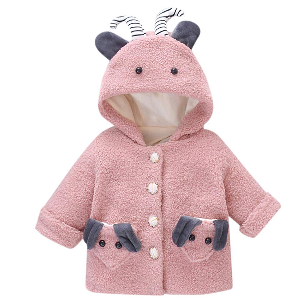 Pollyhb Baby Boys Girls Winter Cartoon Dog Coats Kid Jacket Thick Plush Snowsuit Hoodie Fleece Set Toddler Cute Tops Outerwear by Pollyhb