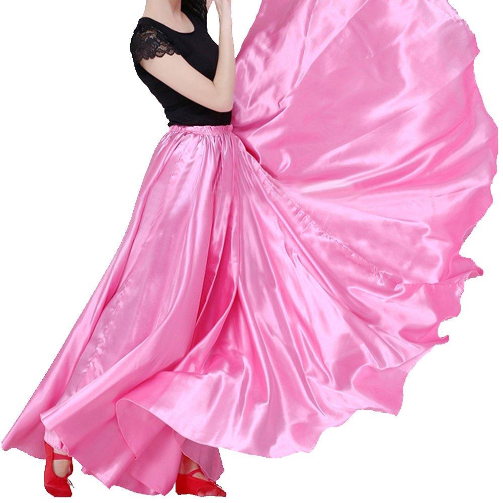 Backgarden Women's 20 Yard Floor Length Circle Satin Dance Skirt Party Performance Maxi, XS~2XL,Pink