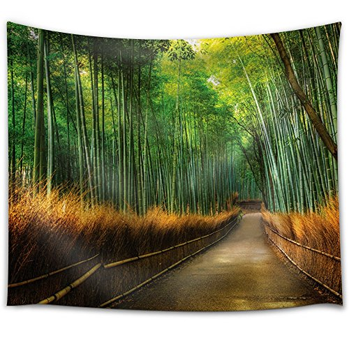Path Passing Through a Forest with Tall Bamboos Fabric Tapestry