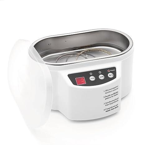 flexzion profesional limpiador ultrasónico máquina de limpieza Mini blanco con 600 ml acero depósito y temporizador digital ...