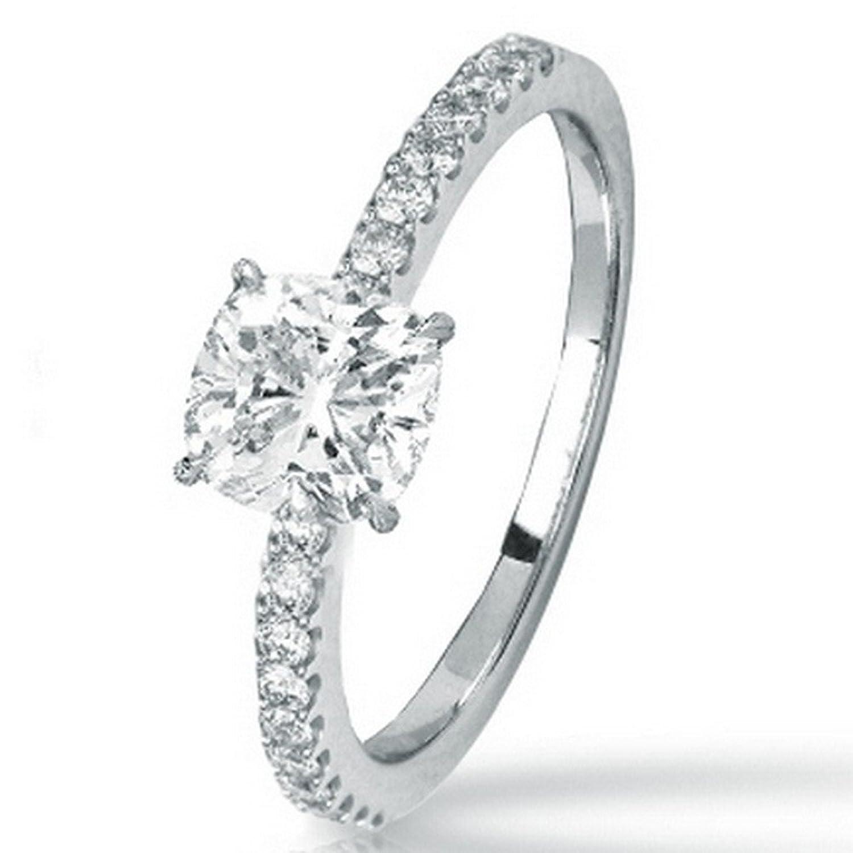 0.73 Ctw 14K White Gold GIA Certified Cushion Cut Classic Side Stone Prong Set Diamond Engagement Ring , 0.5 Ct I-J VS1-VS2 Center