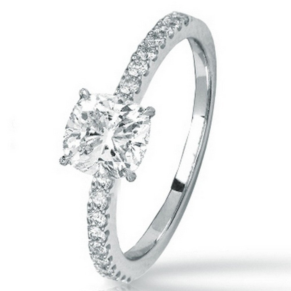 14K White Gold 0.75 CTW Classic Side Stone Prong Set Diamond Engagement Ring w/ 0.52 Ct Cushion Cut J Color VS2-SI1 Clarity Center