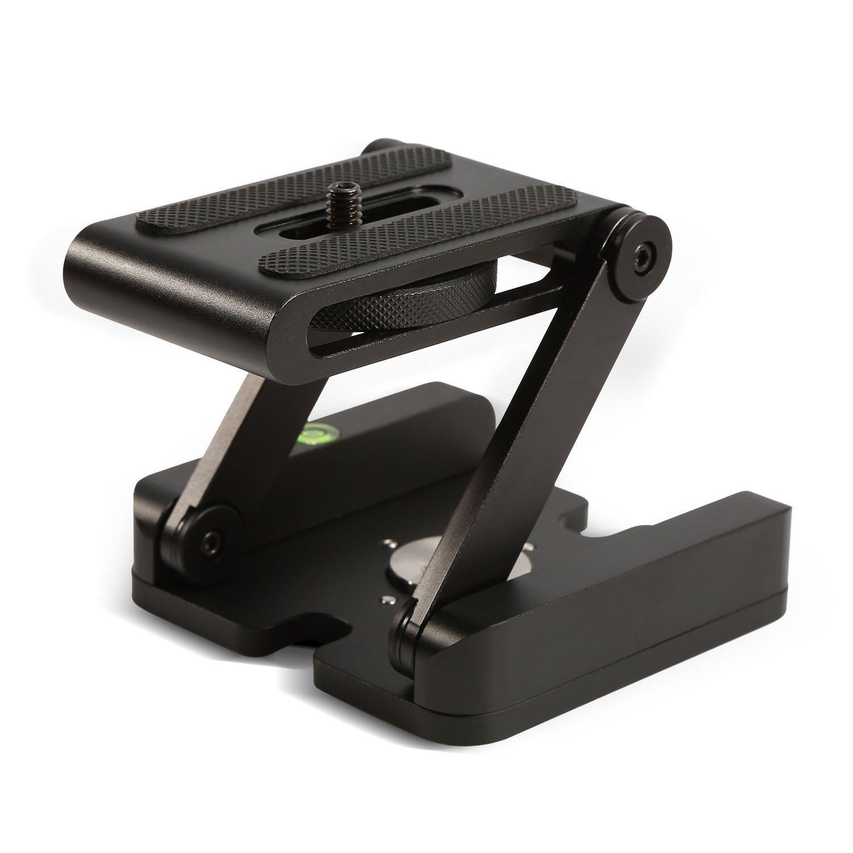 Universal Quick Release Plate, Aluminum Folding Z Flex Tilt Head Camera  Bracket Tripod Ball Head with Spirit Level Slide Rail Tripod Stabilizer