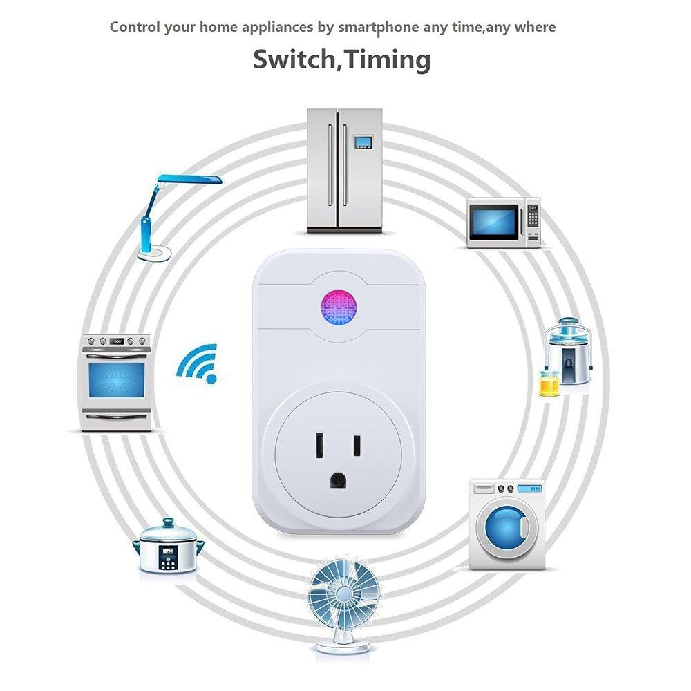 FLOUREON Smart Wi-Fi Socket Plug Outlet Timer Control Power ON/Off Electronics - Compatible with Amazon Alexa US Plug-Surge Protector