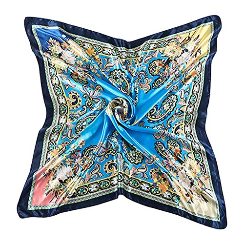 Sanwood Women's Neckerchief Large Square Scarf Headdress (Blue)