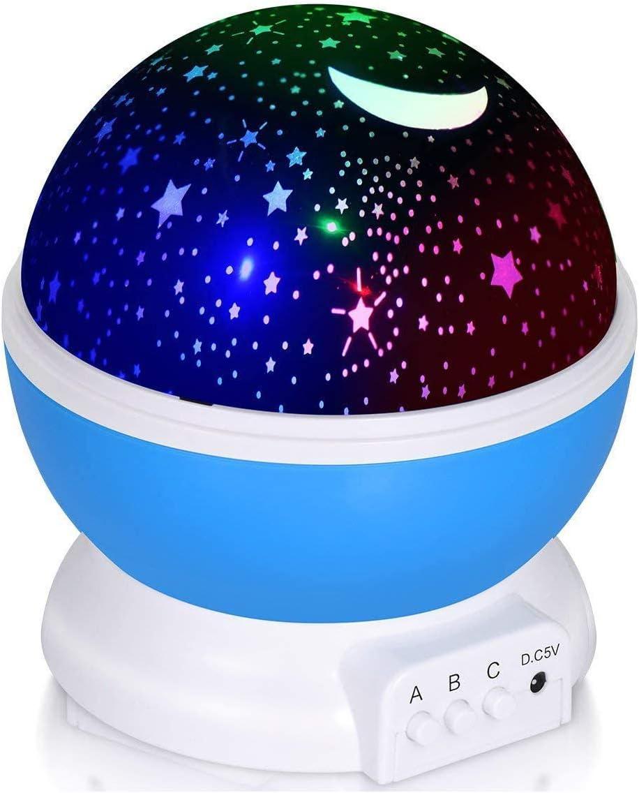 Adoric Proyector Lámpara De Dormir Lámpara Infantil Lámpara Proyector Infantil 360 Grados De Rotación 3 Modo de Luz De Proyector De Estrella Regalo Navidad [Clase de eficiencia energética A]