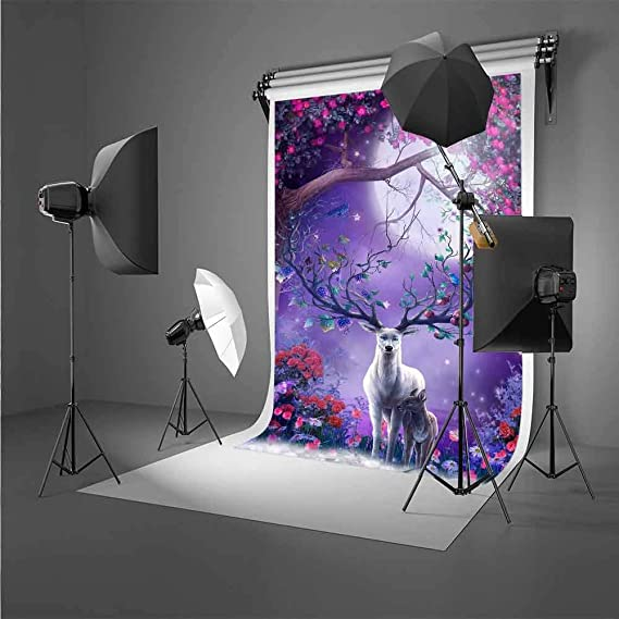 MTMETY 10X7ft Oil Painting Style Flowers Sika Deer Background Photo Studio Props Backdrop PME915