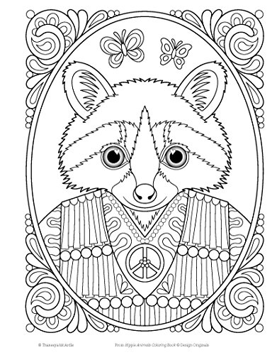 Hippie animals coloring book coloring is fun design for Hippie coloring book pages