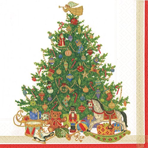 (Entertaining with Caspari Oh Christmas Tree Cocktail Napkins, Ivory, Pack of)