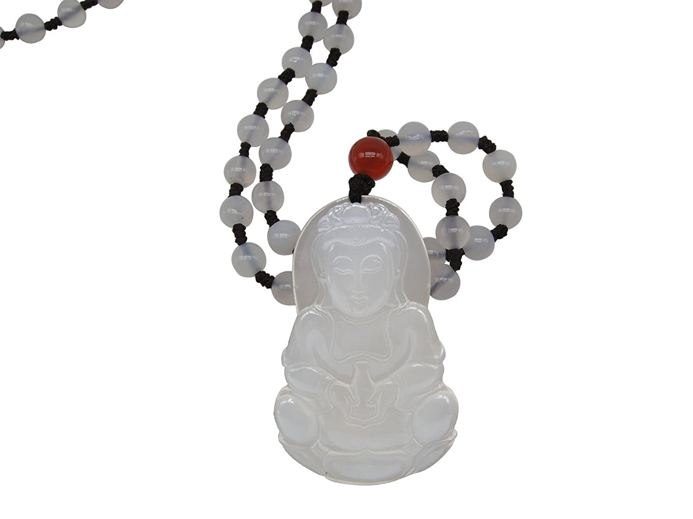 SUNNYHER Chalcedony Jewelry Talisman Pendant Kwan-yin Guan Yin Necklace Beaded Long Chain Necklace