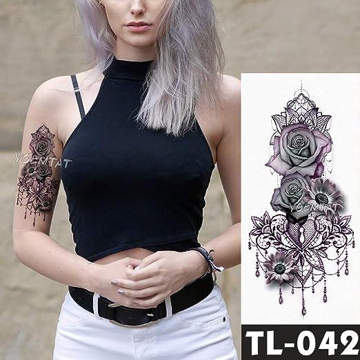 tzxdbh Falsos Tatuajes temporales Pegatinas Rosa Oscura Flores ...