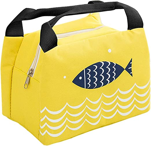 Rollin Roly Bolsa del Almuerzo Impermeable Lonchera Para Ni/ñas Viajar Cartoon Fish Lunch Bag Yellow