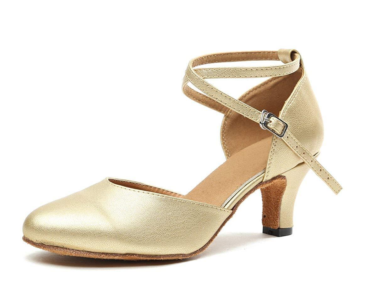 Qiusa Damen Cross Strap Gold Leder Latin Salsa Ballroom Tanzschuhe 2 UK (Farbe   - Größe   -)