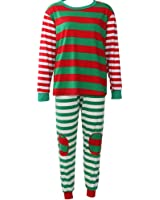 Family Matching Christmas Pjamas set Striped Sleepwear Red Green