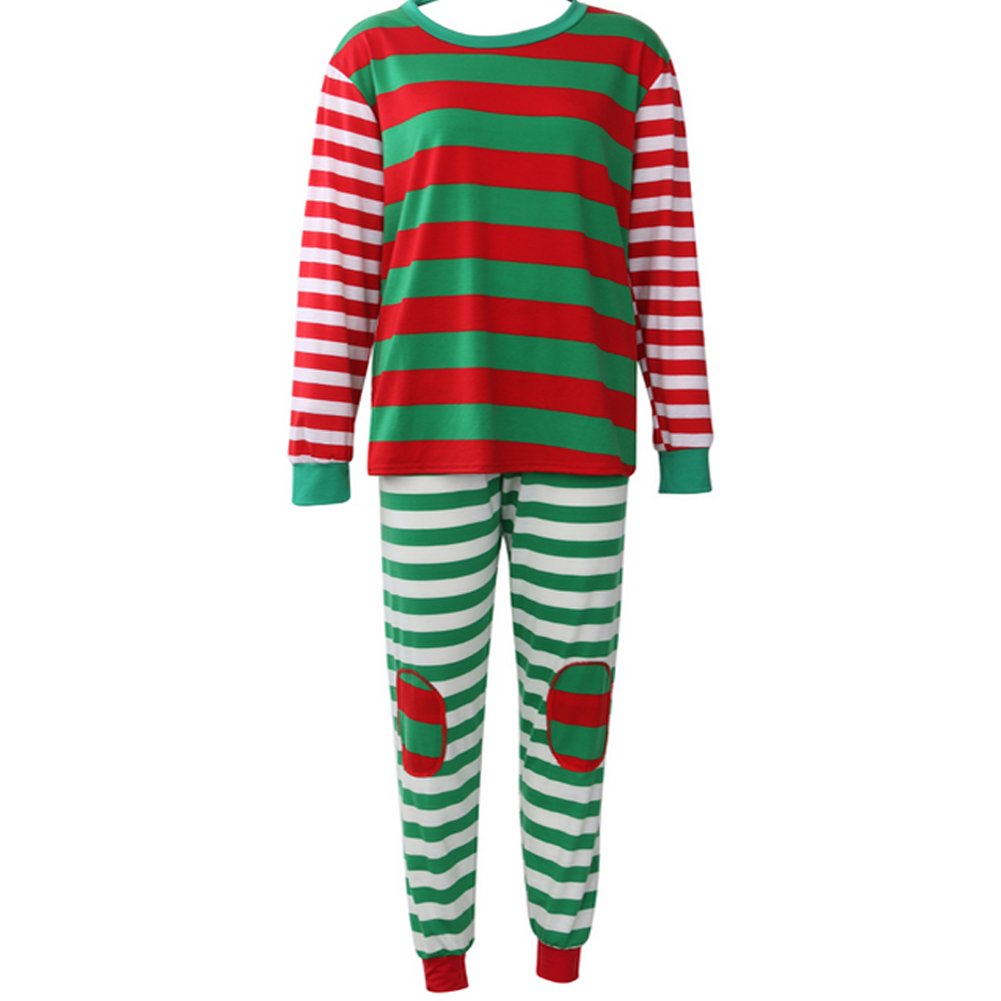 Family Matching Christmas Pjamas set Striped Sleepwear Red Green (Adult Label XXXL, Multicoloured)