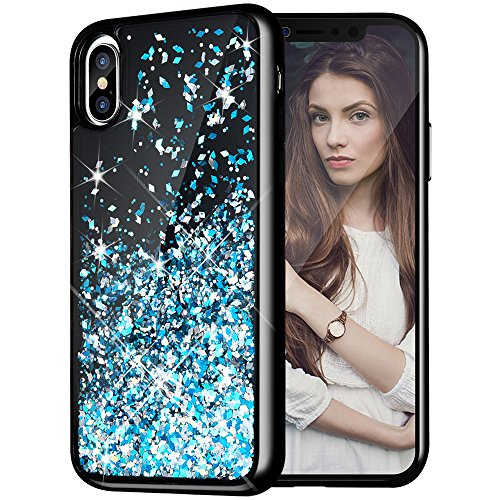 iPhone X Case, Caka iPhone X Glitter Case [Starry Night Series] Luxury Fashion Bling Flowing Liquid Floating Sparkle Glitter Girly Cute TPU Bumper Case for iPhone 10 - (Blue)