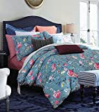 Eikei Botanical Garden Duvet Cover Washed Brushed 100-percent Cotton Bedding Set Asian Chinoiserie Print Colorful Tropical Tree Branches and Birds Floral Pattern (King, Blue Dusk)