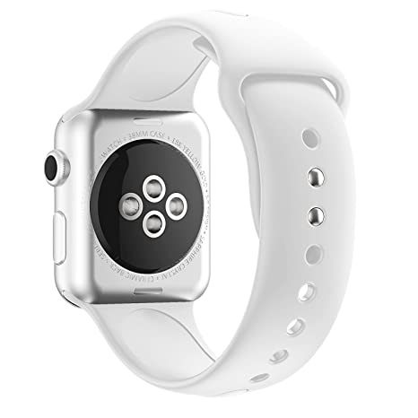 MYQyiyi Correa de Silicona de Reloj Inteligente para Apple Watch Series 3 38MM (Blanco)