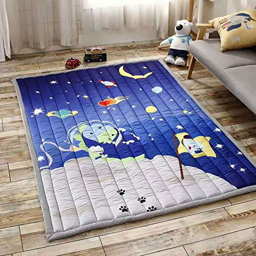 Outer Space Bedroom (Cusphorn Kids Bedroom Decor Educational Learning Carpet Outer Space Blue Children's Play Mat Nursery Rugs Rectangle Rug)