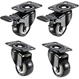 "Impoda 4 Pack 2"" Heavy Duty Caster Wheels Soft Rubber Swivel Caster with 360 Degree (2 with Brakes & 2 Without)"