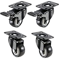 """Impoda 4 Pack 2"""" Heavy Duty Caster Wheels Soft Rubber Swivel Caster with 360 Degree (2 with Brakes & 2 Without)"""