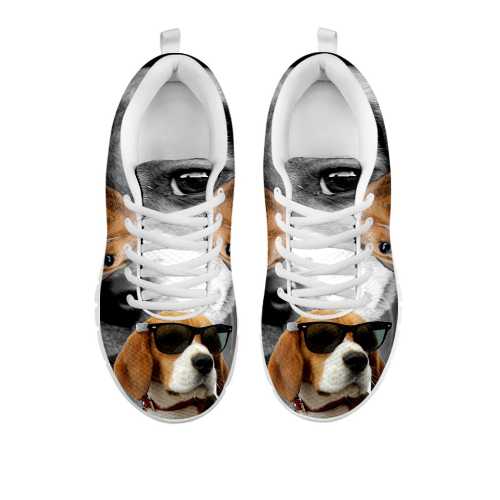 E/&E Solutions Beagle Dog with Glasses Print Casual Running Shoes for Men Sneakers
