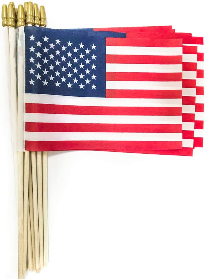 Xibaeu Small American Flags on Stick 5x8 Inch/Small US Flags/Handheld American Wooden Stick Flag- July 4th Decoration, Veteran Party, Grave Marker, etc. (25 Pack)