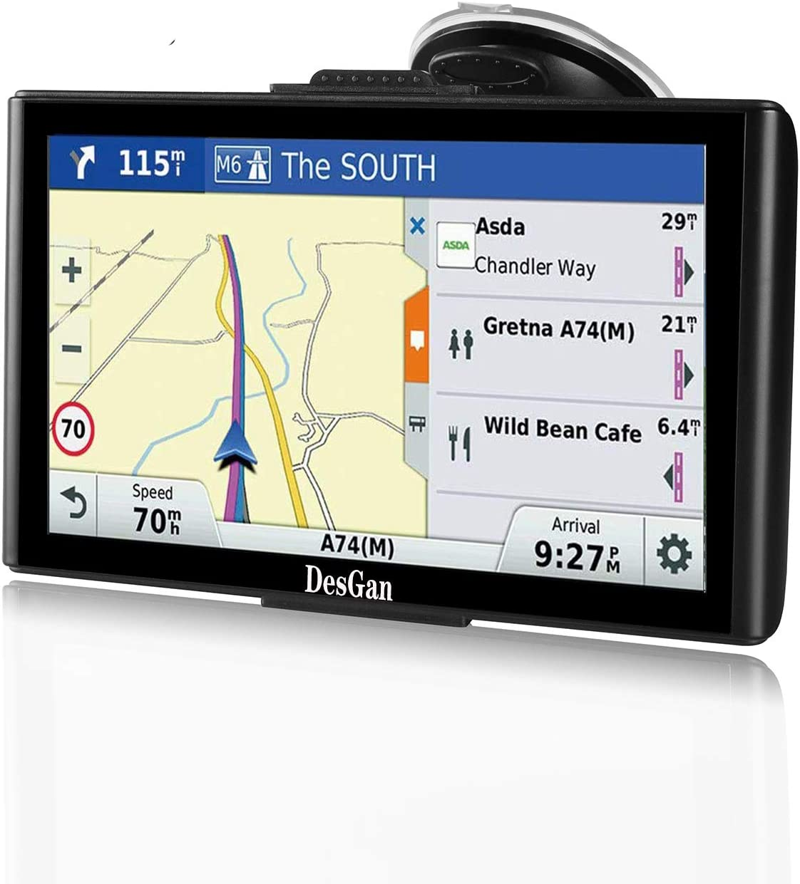 """GPS Navigation for Car, 7"""" HD Touch Screen 8GB-256MB Real Voice Spoken Turn-by-Turn Direction Reminding Navigation System for Cars, Rapid Positioning with Free Lifetime Map Update"""
