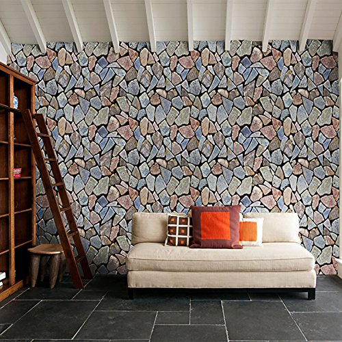(Iulove 3D Brick Stone Rustic Effect Self-Adhesive Wall Sticker Home Decor)