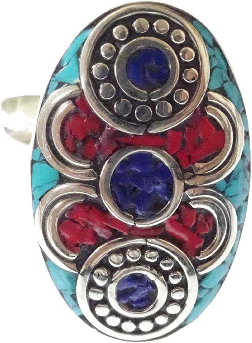 Anillo Ajustable de la Piedra Preciosa de Lapis-Lazuli de la Turquesa coralina para de Las Mujeres, joyería Hecha a Mano Hecha a Mano de Boho de los Anillos únicos por la joyería de la India