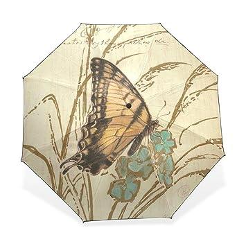 Enne paraguas mariposa plegable compacto viaje paraguas lluvia viento fácil llevar