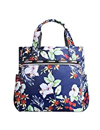 Lvtree Shoulder Bag and Tote, Foldable Wallets Purse Large Size Waterproof Polyester Handbag for Shopping Outdoors Gym Hiking Picnic Travel Beach, Petunia