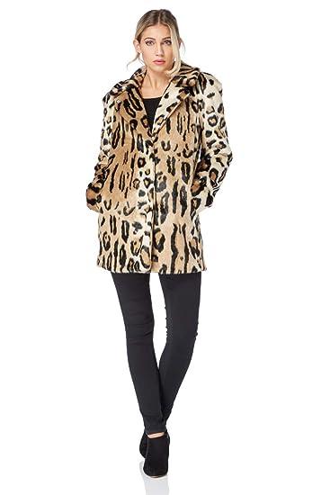 62fb802ca4f5b Roman Originals Leopard Print Fur Coat - Animal Print Faux Fur Coat in  Brown - Women - Brown - Size 16  Amazon.co.uk  Clothing